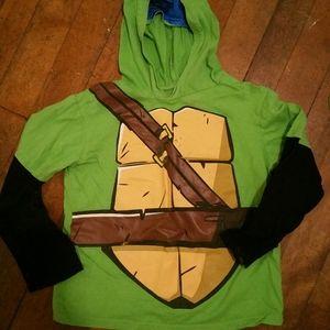 Ninja turtle shirt with hood and eye mask